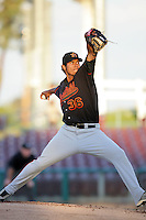 May 26, 2010: Wilmer Font of the Bakersfield Blaze during game against the Inland Empire 66'ers at Arrowhead Credit Union Park in San Bernardino,CA.  Photo by Larry Goren/Four Seam Images