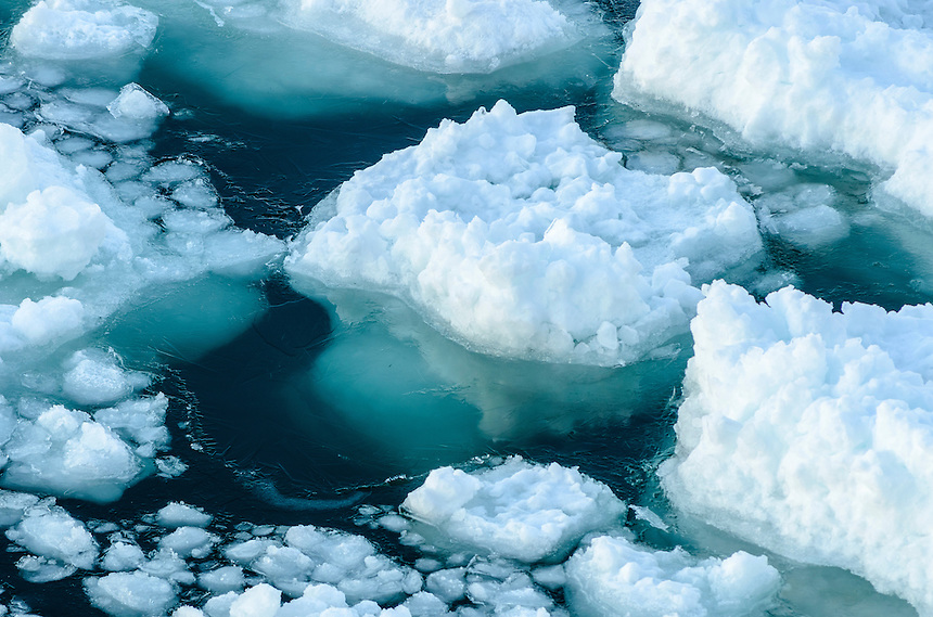 A view from above of the massive ice chunks floating on Lake Superior.