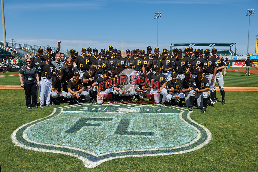 Members of the 2016 Florida State League Champion Bradenton Marauders pose for a photo on the field before a Spring Training game between the Tampa Bay Rays and Pittsburgh Pirates on March 10, 2017 at LECOM Park in Bradenton, Florida.  Pittsburgh defeated New York 4-1.  (Mike Janes/Four Seam Images)