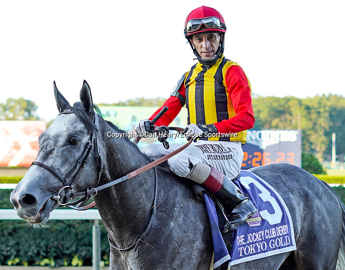 September 18, 2021: Tokyo Gold (FR)#3, ridden by jockey John Velazquez in the post parade for the Jockey Club Derby Invitational Stakes on the turf at Belmont Park in Elmont, N.Y. on September 18th, 2021. Dan Heary/Eclipse Sportswire/CSM