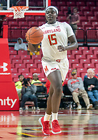 COLLEGE PARK, MD - NOVEMBER 20: Ashley Owusu #15 of Maryland moves up court during a game between George Washington University and University of Maryland at Xfinity Center on November 20, 2019 in College Park, Maryland.