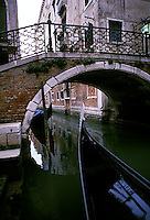Bow of gondole and bridge across canal<br />