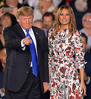 MIAMI, FLORIDA - FEBRUARY 18: President Donald Trump and First Lady Melania Trump attend a rally at Florida International University on February 18, 2019 in Miami, Florida. President Trump spoke about the ongoing crisis in Venezuela.<br /> <br /> People: President Donald Trump, Melania Trump