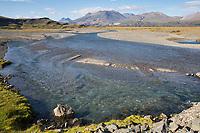 Stafafell, Lónsöræfi, Lonsöraefi, Stafafellsfjöll, im Osten von Island, östlich von Höfn, ausgedehnte Flusslandschaft der Jökulsá í Lóni, Ostisland