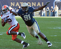 Pittsburgh defensive lineman Greg Romeus chases down Syracuse wide receiver Marcus Sales (5). The Pittsburgh Panthers defeated the Syracuse Orange 37-10 at Heinz Field, Pittsburgh Pennsylvania on November 7, 2009..