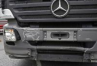 Front bumper of a Mercedes HGV following collision with Car..©shoutpictures.com..john@shoutpictures.com