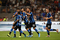 Calcio, Serie A: Inter Milano - Lecce, Giuseppe Meazza stadium, September 26 agosto 2019.<br /> Inter's Marcelo Brozovic celebrates after scoring with his teammates during the Italian Serie A football match between Inter and Lecce at Giuseppe Meazza (San Siro) stadium, September August 26,, 2019.<br /> UPDATE IMAGES PRESS/Isabella Bonotto