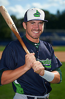 Vermont Lake Monsters first baseman Chris Iriart (18) poses for a photo before the first game of a doubleheader against the Batavia Muckdogs August 11, 2015 at Dwyer Stadium in Batavia, New York.  Batavia defeated Vermont 6-0.  (Mike Janes/Four Seam Images)