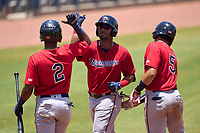 FCL Twins Malfrin Sosa (35) celebrates hitting a home run with Luis Gomez (2) and Yonardy Soto (5) during a game against the FCL Rays on July 20, 2021 at Charlotte Sports Park in Port Charlotte, Florida.  (Mike Janes/Four Seam Images)