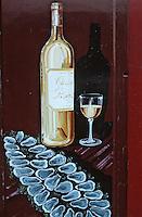 Europe/France/Aquitaine/33/Gironde/Bordeaux: Enseigne restaurant, quai du Bacalan, huitres et bouteille