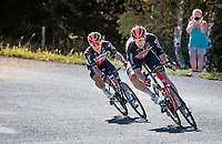Caleb Ewan (AUS/Lotto-Soudal) escorted by bodyguard Roger Kluge (DEU/Lotto-Soudal) down the Col du Béal<br /> <br /> Stage 14 from Clermont-Ferrand to Lyon (194km)<br /> <br /> 107th Tour de France 2020 (2.UWT)<br /> (the 'postponed edition' held in september)<br /> <br /> ©kramon