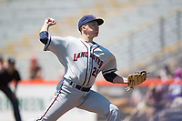 Lancaster JetHawks starting pitcher Matt Dennis (29) delivers a pitch to the plate during a California League game against the San Jose Giants at San Jose Municipal Stadium on May 13, 2018 in San Jose, California. San Jose defeated Lancaster 3-0. (Zachary Lucy/Four Seam Images)
