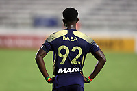 """CARY, NC - AUGUST 01: Hadji Barry #92 honors his late father by wearing """"Baba"""" on his jersey during a game between Birmingham Legion FC and North Carolina FC at Sahlen's Stadium at WakeMed Soccer Park on August 01, 2020 in Cary, North Carolina."""