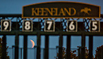 April 3, 2015: Scenes from around the track at sunrise during morning workouts as the Blood Moon is blanketed by a total lunar eclipse on Bluegrass Stakes Day at Keeneland Race Course in Lexington, Kentucky. Scott Serio/CSM