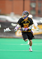 10 April 2011: University at Albany Great Dane midfielder Ryan Feuerstein, a Freshman from Hamburg, NY, in action against the University of Vermont Catamounts on Moulton Winder Field in Burlington, Vermont. The Catamounts defeated the visiting Danes 11-6 in America East play. Mandatory Credit: Ed Wolfstein Photo