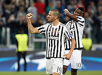 Calcio, Champions League: Gruppo D - Juventus vs Siviglia. Torino, Juventus Stadium, 30 settembre 2015.  <br /> Juventus' Leonardo Bonucci celebrates at the end of the Group D Champions League football match between Juventus and Sevilla at Turin's Juventus Stadium, 30 September 2015. Juventus won 2-0.<br /> UPDATE IMAGES PRESS/Isabella Bonotto