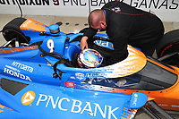 28th May 2021; Indianapolis, Indiana, USA;  NTT Indy Car Series car driver Scott Dixon (9) gets seat belted in his car as he prepares for the 105th running of the Indianapolis 500
