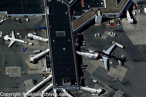 aerial photograph US Airways Delta terminals LaGuardia airport, LGA, Queens, New York City