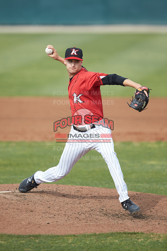 Kannapolis Intimidators relief pitcher Jason Bilous (26) in action against the Rome Braves at Kannapolis Intimidators Stadium on April 7, 2019 in Kannapolis, North Carolina. The Intimidators defeated the Braves 2-1. (Brian Westerholt/Four Seam Images)