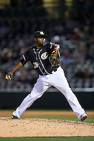Charlotte Knights relief pitcher Jairo Asencio (38) in action against the Louisville Bats at BB&T BallPark on May 12, 2015 in Charlotte, North Carolina.  The Knights defeated the Bats 4-0.  (Brian Westerholt/Four Seam Images)