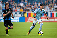 Kansas City, KS - Wednesday August 9, 2017: Jackson Yueill, Benny Feilhaber during a Lamar Hunt U.S. Open Cup Semifinal match between Sporting Kansas City and the San Jose Earthquakes at Children's Mercy Park.