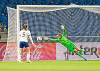 LE HAVRE, FRANCE - APRIL 13: Alyssa Naeher #1 of the USWNT makes a save during a game between France and USWNT at Stade Oceane on April 13, 2021 in Le Havre, France.