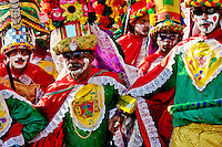 Colombian men, performing Congo warriors, dance during the Carnival in Barranquilla, Colombia, 26 February 2006. The Carnival of Barranquilla is a unique festivity which takes place every year during February or March on the Caribbean coast of Colombia. A colourful mixture of the ancient African tribal dances and the Spanish music influence - cumbia, porro, mapale, puya, congo among others - hit for five days nearly all central streets of Barranquilla. Those traditions kept for centuries by Black African slaves have had the great impact on Colombian culture and Colombian society. In November 2003 the Carnival of Barranquilla was proclaimed as the Masterpiece of the Oral and Intangible Heritage of Humanity by UNESCO.