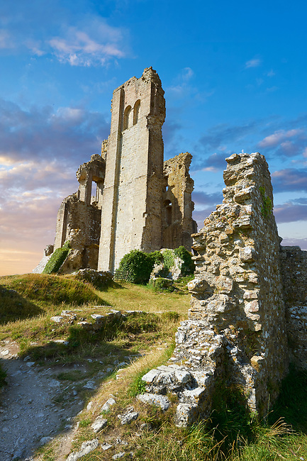 Medieval Corfe castle keep  close up  sunrise, built in 1086 by William the Conqueror, Dorset England