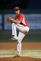 Lake Norman Copperheads relief pitcher Drake Thames (18) (Florence-Darlington Tech) in action against the Mooresville Spinners at Moor Park on July 6, 2020 in Mooresville, NC.  The Spinners defeated the Copperheads 3-2. (Brian Westerholt/Four Seam Images)
