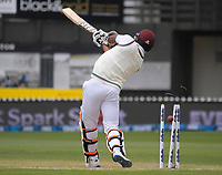 Windies' Shannon Gabriel is bowled to end the International Test Cricket series between the New Zealand Black Caps and West Indies at the Basin Reserve in Wellington, New Zealand on Monday, 14 December 2020. Photo: Dave Lintott / lintottphoto.co.nz