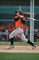 Baltimore Orioles Willy Yahn (17) bats during a Minor League Spring Training game against the Boston Red Sox on March 20, 2019 at the Buck O'Neil Baseball Complex in Sarasota, Florida.  (Mike Janes/Four Seam Images)