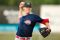 Greenville starting pitcher Daniel Bard (33) in action versus Kannapolis at Fieldcrest Canon Stadium in Kannapolis, NC, Monday, June 11, 2007.  The Drive no-hit the Intimidators in a game shortened to 6 innings by rain.