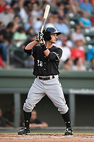 Shortstop Grant Massey (28) of the Kannapolis Intimidators bats in a game against the Greenville Drive on Friday, July 14, 2017, at Fluor Field at the West End in Greenville, South Carolina. Greenville won, 2-0. (Tom Priddy/Four Seam Images)