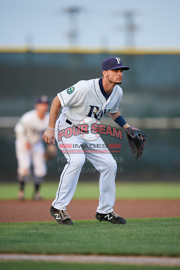 Princeton Rays third baseman Connor Hollis (39) during the second game of a doubleheader against the Johnson City Cardinals on August 17, 2018 at Hunnicutt Field in Princeton, Virginia.  Princeton defeated Johnson City 12-1.  (Mike Janes/Four Seam Images)