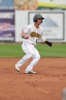 Burlington Bees shortstop Leonardo Rivas (3) in action against the Dayton Dragons at Community Field on May 3, 2018 in Burlington, Iowa.  (Dennis Hubbard/Four Seam Images)