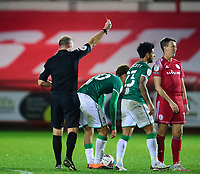 Accrington Stanley's Sean McConville, right, is shown a red card by referee Andy Haines, after a foul on Lincoln City's Lewis Montsma<br /> <br /> Photographer Andrew Vaughan/CameraSport<br /> <br /> The EFL Sky Bet League One - Accrington Stanley v Lincoln City - Saturday 21st November 2020 - Crown Ground - Accrington<br /> <br /> World Copyright © 2020 CameraSport. All rights reserved. 43 Linden Ave. Countesthorpe. Leicester. England. LE8 5PG - Tel: +44 (0) 116 277 4147 - admin@camerasport.com - www.camerasport.com