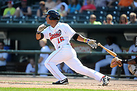 Great Lakes Loons outfielder Devin Shines (16) during a game against the Fort Wayne TinCaps on August 18, 2013 at Dow Diamond in Midland, Michigan.  Fort Wayne defeated Great Lakes 4-3.  (Mike Janes/Four Seam Images)