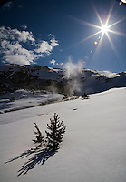 """A fine art nature landscape of a snow field at Mammoth Hot Springs Main Terrace in Yellowstone National Park, Wyoming.  The sunburst in a cobalt blue sky casts pine shadows in the later afternoon.  Mist rising from a descending hot spring stream in the upper left mirrors white clouds in the blue sky.  This image pairs well with """"Mammoth Canary Spring No 1,"""" """"Mammoth Hot Springs terrace stream,"""" and """"Snow-swept Pine Near Hot Springs."""""""