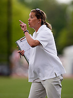 Duke head coach Kerstin Kimmel yells to her team during the first round of the ACC Women's Lacrosse Championship in College Park, MD.  Duke defeated Boston College, 17-6.