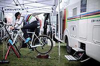 World Champion Sanne Cant (BEL/Iko-crelan) pre race warming up<br /> <br /> CX Superprestige Zonhoven (BEL) 2019<br /> women's race