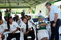 CALI-COLOMBIA,10-07-2019. María Clara Naranjo presidenta de la Fundación Carlos Sarmiento Y Juan Fernando Mejia presidente del Deportivo Cali durante la presentacion del equipo femenino del Deportivo Cali./María Clara Naranjo, president of the Carlos Sarmiento Foundation and Juan Fernando Mejia Presiden of Deportivo Cali during presentation of the women's team of Deportivo Cali. Photo: VizzorImage/ Nelson Rios / Contribuidor
