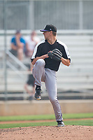 Grand Junction Rockies relief pitcher Jared Skolnicki (25) delivers a pitch during a Pioneer League game against the Helena Brewers at Kindrick Legion Field on August 19, 2018 in Helena, Montana. The Grand Junction Rockies defeated the Helena Brewers by a score of 6-1. (Zachary Lucy/Four Seam Images)