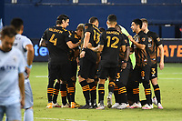 KANSAS CITY, UNITED STATES - AUGUST 25: Houston Dynamo players in a team huddle  a game between Houston Dynamo and Sporting Kansas City at Children's Mercy Park on August 25, 2020 in Kansas City, Kansas.