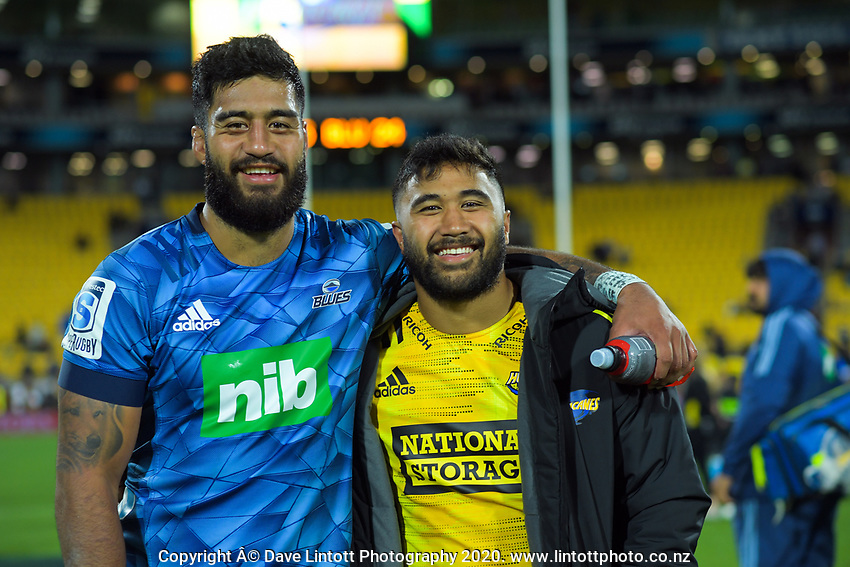 Akira Ioane and Vinne Aso after the Super Rugby match between the Hurricanes and Blues at Sky Stadium in Wellington, New Zealand on Saturday, 7 March 2020. Photo: Dave Lintott / lintottphoto.co.nz