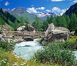 Austria, East-Tyrol, near Matrei, Aussergschloess: alpine pasture huts at Tauern Brooke and Hohe Tauern mountains | Oesterreich, Ost-Tirol, bei Matrei, Aussergschloess: Almhuetten am Tauernbach und Hohe Tauern
