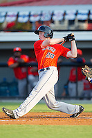 Connor Goedert (20) of the Greeneville Astros follows through on his swing against the Burlington Royals at Burlington Athletic Park on June 30, 2014 in Burlington, North Carolina.  The Royals defeated the Astros 9-8. (Brian Westerholt/Four Seam Images)