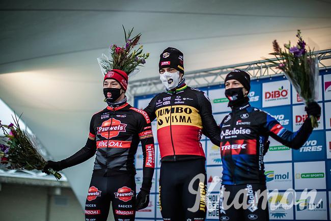 Podium:<br /> <br /> 1st place Wout van Aert (BEL/Jumbo-Visma)<br /> 2nd place Laurens Sweeck (BEL/Pauwels Sauzen-Bingoal)<br /> 3th place Lars van der Haar (NED/Baloise Trek Lions)<br /> <br /> Elite Men's Race<br /> Zilvermeercross Mol (BEL) 2021<br /> <br /> ©Kramon