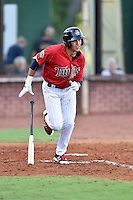 Elizabethton Twins right fielder Alex Kirilloff (30) swings at a pitch during a game against the Bristol Pirates at Joe O'Brien Field on July 30, 2016 in Elizabethton, Tennessee. The Twins defeated the Pirates 6-3. (Tony Farlow/Four Seam Images)