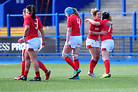 Jess Kavanagh and Bethan Lewis of Wales celebrates after Bethan Lewis scores her sides seventh try during the Women's Six Nations match between Wales and Ireland at Cardiff Arms Park, Cardiff, Wales, UK. Sunday 17 March 2019