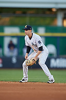 Scranton/Wilkes-Barre RailRiders second baseman Tyler Wade (23) during a game against the Pawtucket Red Sox on May 15, 2017 at PNC Field in Moosic, Pennsylvania.  Scranton defeated Pawtucket 8-4.  (Mike Janes/Four Seam Images)